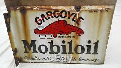 PLAQUE ÉMAILLÉE GARGOYLE MOBILOIL/ANCIENNE DOUBLE FACE/OLD GARAGE SIGN/années 30