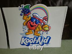 Pair of Vintage Kool-Aid Man Display Advertising Embossed Plastic Store Signs