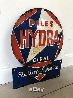 Plaque Emaillee Ancienne Pile Hydra Mazda Enamel Sign Emailschild