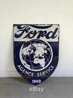 Plaque Emaillee Ford Ancienne Enamel Sign Garage Double Face Double Sided