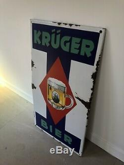 Plaque Emaillee Kruger Bier Ancienne Enamel Sign Emailschild Biere