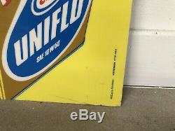 Plaque Huile Uniflo Publicitaire Ancienne Plastique No Emaillee Enamel Sign