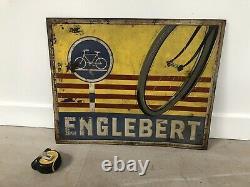 Plaque Tole Peinte Englebert Velo Ancienne No Emaillee Enamel Sign Emailschild