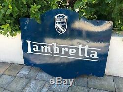 Plaque émaillée Lambretta Moto Tole Ancienne Garage Oil Sign Vespa Emailschild