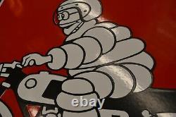 Plaque émaillée Michelin moto rouge bords tombés enamel sign