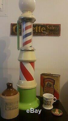 RARE 38 VINTAGE SALESMAN BARBER POLE Koken Koch Sign Lights & Spins Barber Shop