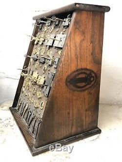 RARE Antique Early 1900s Corbin Lock Key General Hardware Store Oak Display Sign