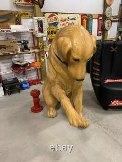 RARE HUGE LARGE Golden Retreiver Advertising Store Display Dog Statue