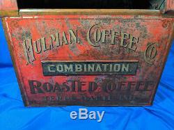 RARE Hulman Coffee Terre Haute, Indiana Coffee Bin Display sign Antique VTG