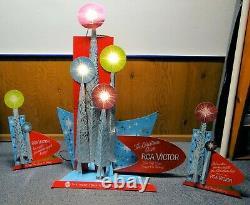 RCA Christmas Store Display Sign TV Radio Record Player Lights UP 1964 RCA Vic