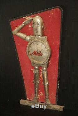 ROBOT MIDO ROBI WATCH store advertising display trade sign vintage clock 1940's