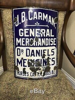 Rare 1900s Antique Porcelain Curved Carman General Merchandise Dr Daniels Sign