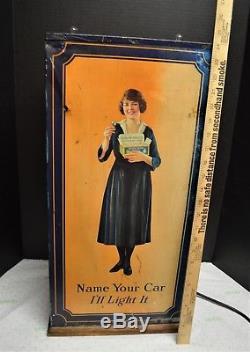 Rare Antique Edison Mazda Automobile Lamp Light Display Cabinet Case 1920-1925