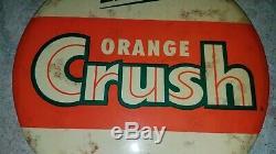 Rare Orange Crush Store Display Wall Sign Counter Salesman Vintage Button Soda
