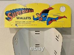 Rare! Vintage 1966 Superman 11 Wallet Store Display With Original Header Sign