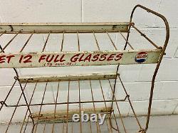 Rare Vintage Double Dot Pepsi Cola 1940's Metal Store Display Stand