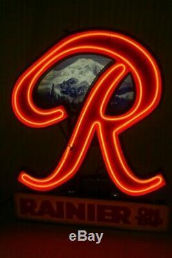 Rare Vintage Rainier Beer On Tap R Neon Light Advertising Store Display Sign