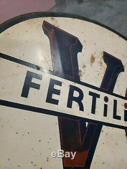 Rare Vintage VC Fertilizer Flange Sign Old Feed Store Display Corn Farm Cattle