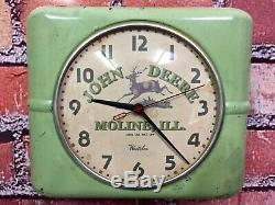Rare Vtg John Deere Old Tractor Dealer Advertising Farm Store Display Clock Sign