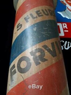 Rare, large, vintage metal advertising Barber pole, shop sign FORVIL 5 fleurs