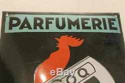 Rare plaque émaillée Parfumerie Lame le Coq signé Paul Mohr eas Strasbourg