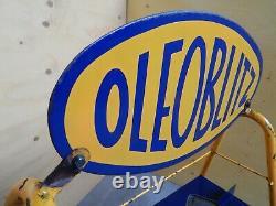 Raro Espositore Originale Oleoblitz Con Insegna Smaltata Sign