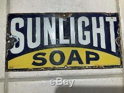 SUNLIGHT SOAP Antique Porcelain Advertising Sign