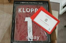 Signed Jurgen Klopp Liverpool 19/20 Kit from official LFC Store with display cas