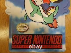 Super Nintendo Mario Store Display Sign Promo kiosk SMW World SNES double sided