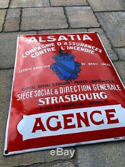 Super Plaque émaille bombée Assurance 1930 Alsatia Agence Incendie EAS tole Sign