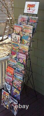 VINTAGE 1960s COMIC BOOK METAL STORE DISPLAY RACK 64 FREE STANDING 20 SLOT