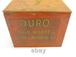 VINTAGE DURO METAL STORE DISPLAY, SIGN MAKER DECALS LETTER & NUMBERS, 5.5x5.5