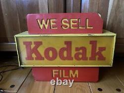 VTG 1960s Rare Display Metal Kodak Fiberoptic We Sell Kodak Film Lighted Sign