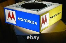 VTG Motorola spinning lighted advertising store display sign radio television