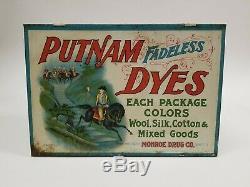 VTG Putnam Dyes Country General Store Display Metal Cabinet Sign Monroe Drug
