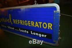 VTG SERVEL refrigerator lighted advertising sign GLASS face 50's store display