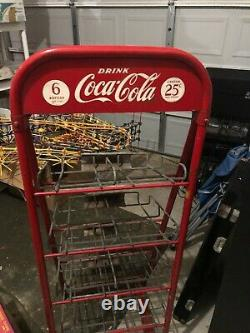 Vintage 1940's Coke Coca Cola 5 ft bottle rack display soda Drug store Metal