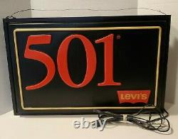 Vintage 1985 Levi's 501 Jeans Lighted Hanging Store Display Electric Sign -Works