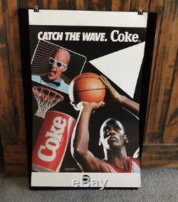 Vintage 1987 Coca-Cola STORE DISPLAY SIGN with MICHAEL JORDAN & MAX HEADROOM