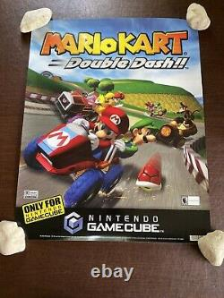 Vintage 2003 Nintendo GameCube Mario Kart Double Dash Store Display Sign Poster