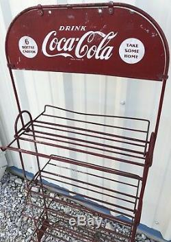 Vintage 50s COCA-COLA Wire Display Store Rack Sign 6-Pack Carton Folding Shelves