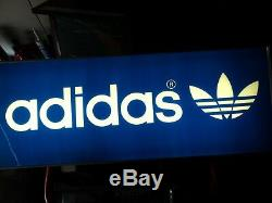 Vintage 80's Adidas Large Light Sign with Clock Store Display Advertising