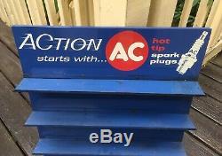 Vintage AC Spark Plug Repair Shop Store Display Rack Advertising Cabinet Sign