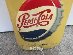 Vintage Advertising 1950's Pepsi Cola Soda Store Thermometer Display 957-q