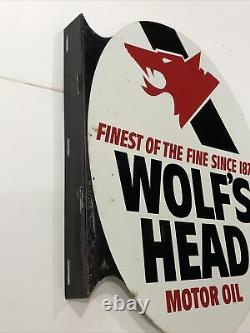 Vintage Advertising 1974 Wolf's Head Oil Double Sided Flanged Sign 024-a-m 4-74