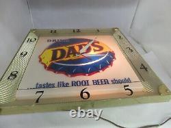 Vintage Advertising Dad's Root Beer Square Clock Store Display Working 919-o
