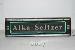 Vintage Alka Seltzer Neon Light Etched Glass Metal Box Sign Art Deco Early Adv