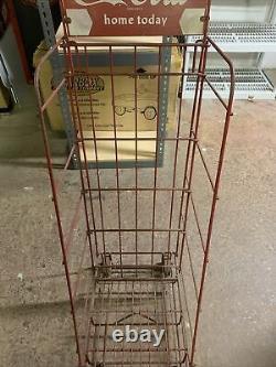 Vintage Antique Coca Cola Advertising Store Display Rack SIGN on wheels