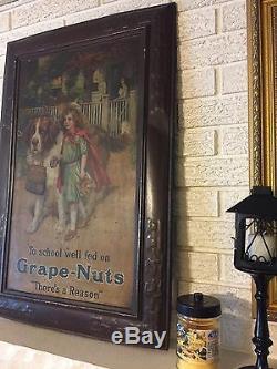 Vintage Antique Grape Nuts Cereal General Store Metal Self Framed Tin Sign DL