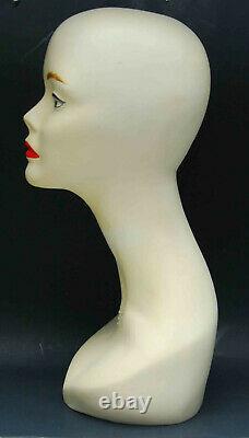 Vintage Art Deco Signed Wella Mannequin Head Bust Composition 18 Wig Model Hair
